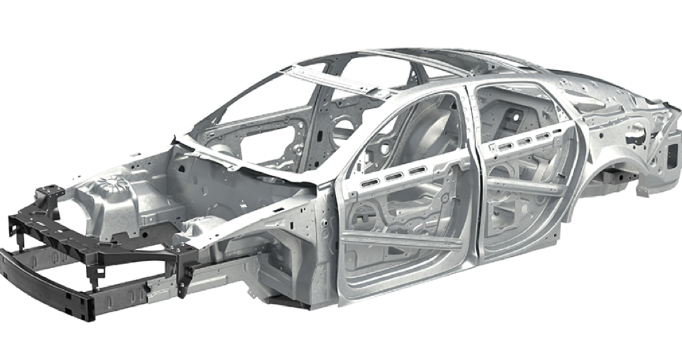 "The ""body in white"" of a car, also known as the car frame or skeleton."