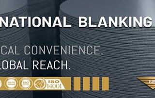 Stacks of steel blanks with words 'National Blanking' laid over