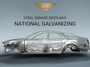 "An image depicting a galvanized auto body made of steel, with the words ""Steel Service Spotlight – National Galvanizing"" above."