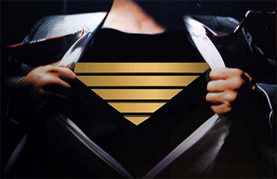 "Clark Kent shedding his businessman persona he pulls his business suit away from his chest, exposing the powerful man of steel - Superman's signature ""S"" logo"