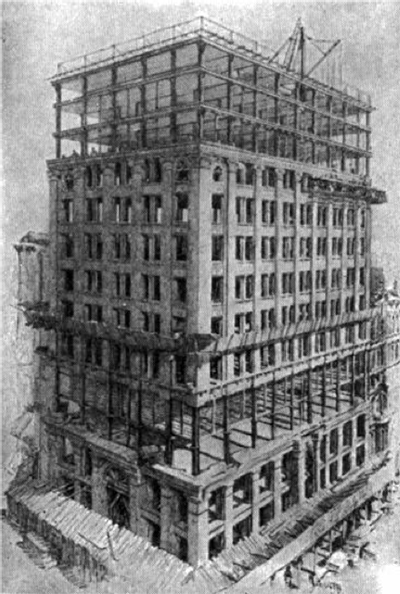 Black & white chalk sketch of America's first skyscrapers being built: Chicago's 10-story Home Insurance Building - showing the deep foundation, scaffolding and thin steel support beams.
