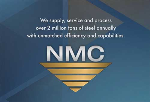 "National Material Company's official logo gold inverted triangle logo with words ""We supply, service, and process over 2 million tons of steel annually with unmatched efficiency and capabilities"" over an artistic blue background."
