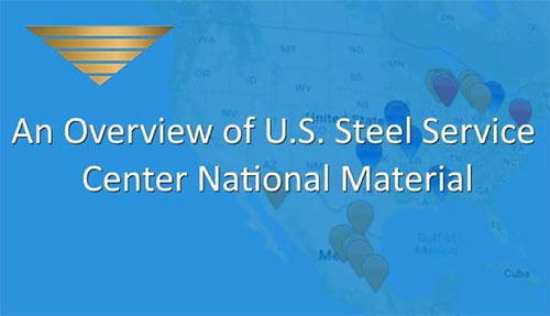 An image depicting a map of the different locations of NMLP steel service centers in the U.S, with the text An Overview of U.S. Steel Service Center National Material imposed on a blue background.