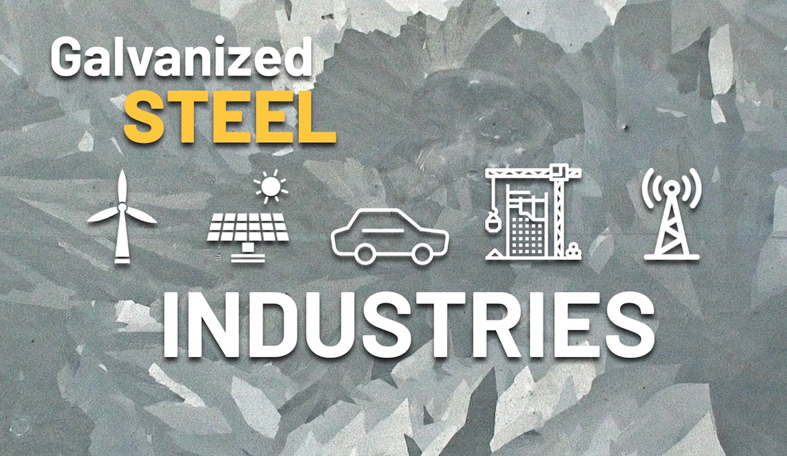 "Mosaic-style background of various galvanized steel textures with the words, ""Galvanized Steel Industries"" and flat white icons representing wind, solar, automotive, construction, and telecommunication."