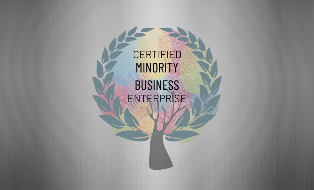 "An artistic presentation of a tree; the leaves replaced by an array of colorful human fingerprints and the words ""Certified Minority Business Enterprise"" are in the forefront."