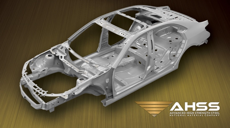 "Steel car frame 3D rendering with the words ""AHSS Advanced High Strength Steel National Material Company"""