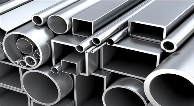 Image of hollow steel tubes of different shapes and thicknesses stacked on and inside each other.