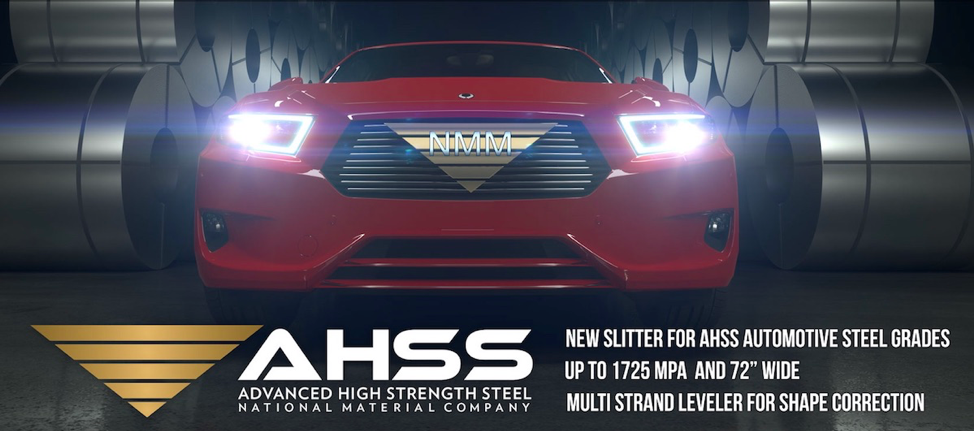 Slick looking red NMM-branded sportscar at night surrounded by steel coils with the National Material of Mexico's official Advanced High Strength Steel logo at the bottom of the image along with listed capabilities that correspond with this article.