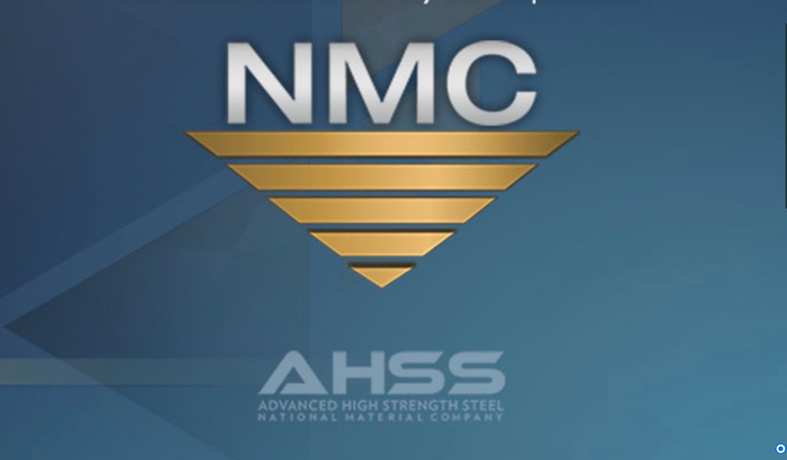 """Simple graphic on a gradient blue background that features the official National Material Company logo with the words """"AHSS – Advanced High Strength Steel"""" placed below."""