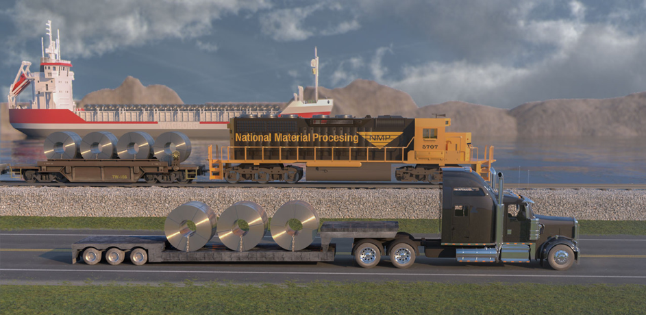 3D rendering of various modes of transporation delivering steel coils.